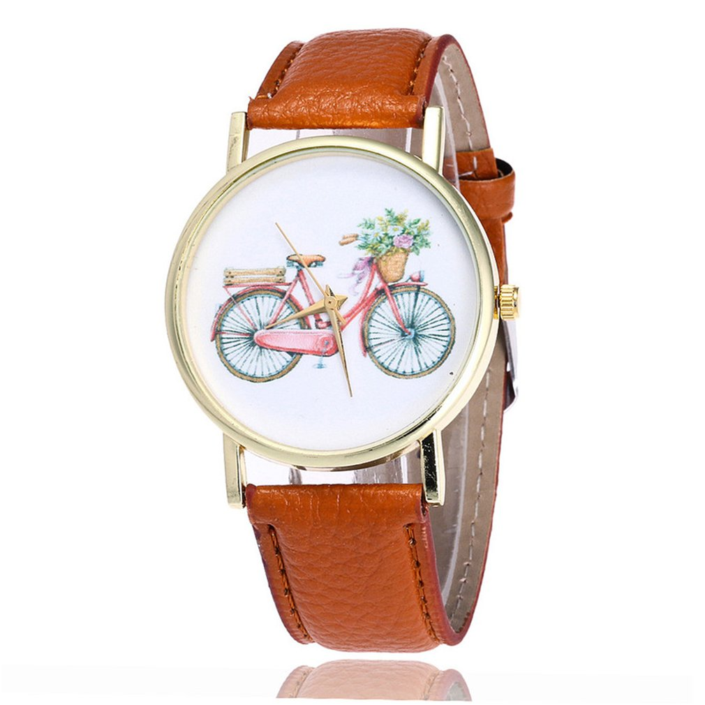 Cute Bicycle Pattern Women's Bracelet Watches Leather Strap Quartz Wristwatch For Kids GIfts Ladies Dress Watches Clock New