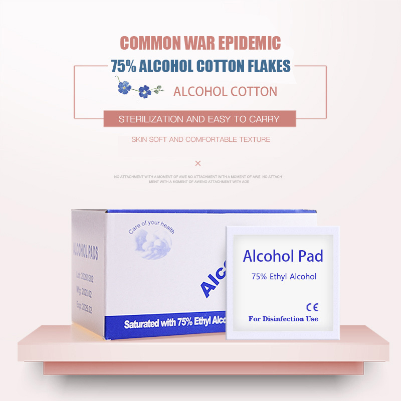 100pcs/Box Disposable Alcohol Wet Clean Wipe Antiseptic Skin Cleaning Care Sterilization 75% Isopropyl Cleaning Care Swap Pad