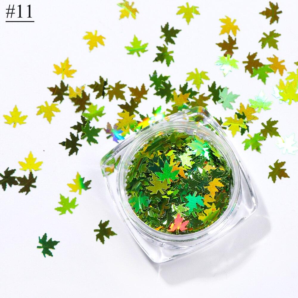 """1 коробка кленовые листья дизайн ногтей голографические блестки наклейки """"хамелеон"""" для ногтей осенний дизайн Декор SA1528 - Цвет: 11"""