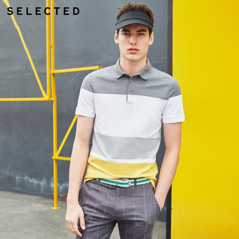 SELECTED Men's Summer 100% Cotton Assorted Colors Turn-down Collar Short-sleeved Poloshirt S|419206526