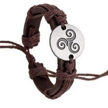 Trendy Teen  punk Bracelets Hemp Rope Adjustable Genuine Leather Strap Charm Bracelet Women Men Movies Jewelry student hand rope