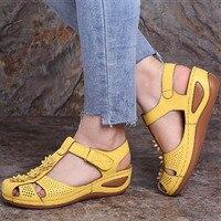 Женские босоножки; Летние удобные сандалии с круглым носком для девушек и женщин; модная женская мягкая пляжная обувь размера плюс