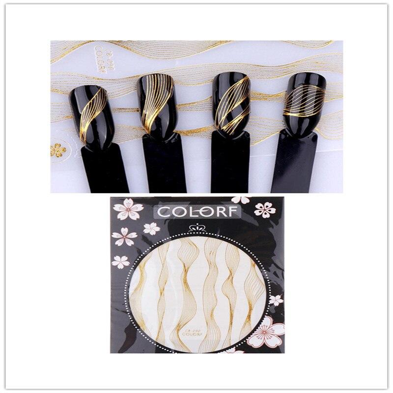 Diy auto-adesivo onda listra arte do prego transferência de metal adesivos linhas de unhas folhas adesivo decalsg 3d arte do prego adesivo decoração