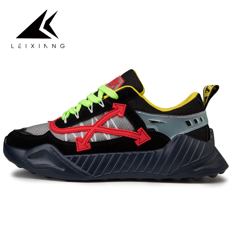 2019 Running Shoes For Men Breathable Mesh Leixiang Man Sports Sneaker Lace-up Sneaker For Outdoor Walking Trekking Shoes Green
