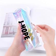 KPOP Bangtan чехол для карандашей для мальчиков лазерный прозрачный цветной чехол для карандашей JUNG KOOK J-HOPE сумка для карандашей для мужчин и женщин