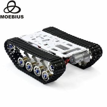 Shock Absorbed Tracked Tank Chassis DIY Smart Car Kit Arduino Remote Robot Platform DIY Robot Parts Education Stem Toy tracking motor smart robot car chassis kit 2wd ultrasonic for arduino mcu
