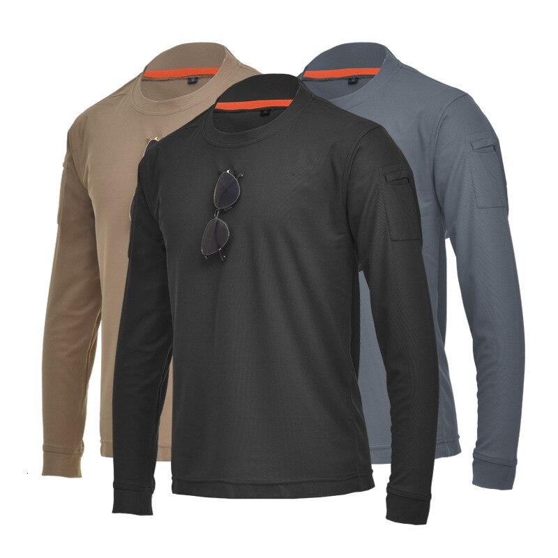 Army Fan Tactical Long Sleeve Shirt Men Loose Big Size  Stretch O-neck T-shirt Outdoor Hiking Climbing Training Military T Shirt