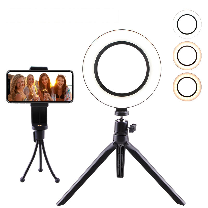 mini Photographic Lighting Dimmable LED Ring Light Photo Studio Phone Ring Lamp Photography For Youtube Makeup Selfie   Tripod