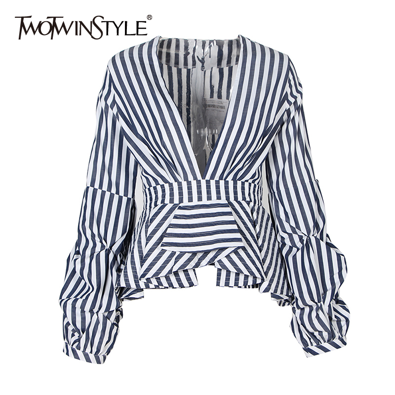 TWOTWINSTYLE Casual Striped Hit Color Shirt For Women V Neck Puff Sleeve Blouses Female 2020 Spring Fashion New Clothing