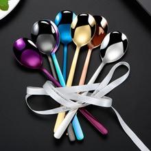 13cm Round Coffee Spoons Stainless Steel 5PCS For Tea Milk Dessert Ice Cream Candy Fruit Spoon Teaspoon Accessories Set Kitchen