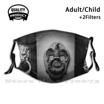 Malta – Door Trifecta Bw Fashion Mouth Masks Filter Adult Kids Face Mask Malta Travel Black White Door Eagle Lion image