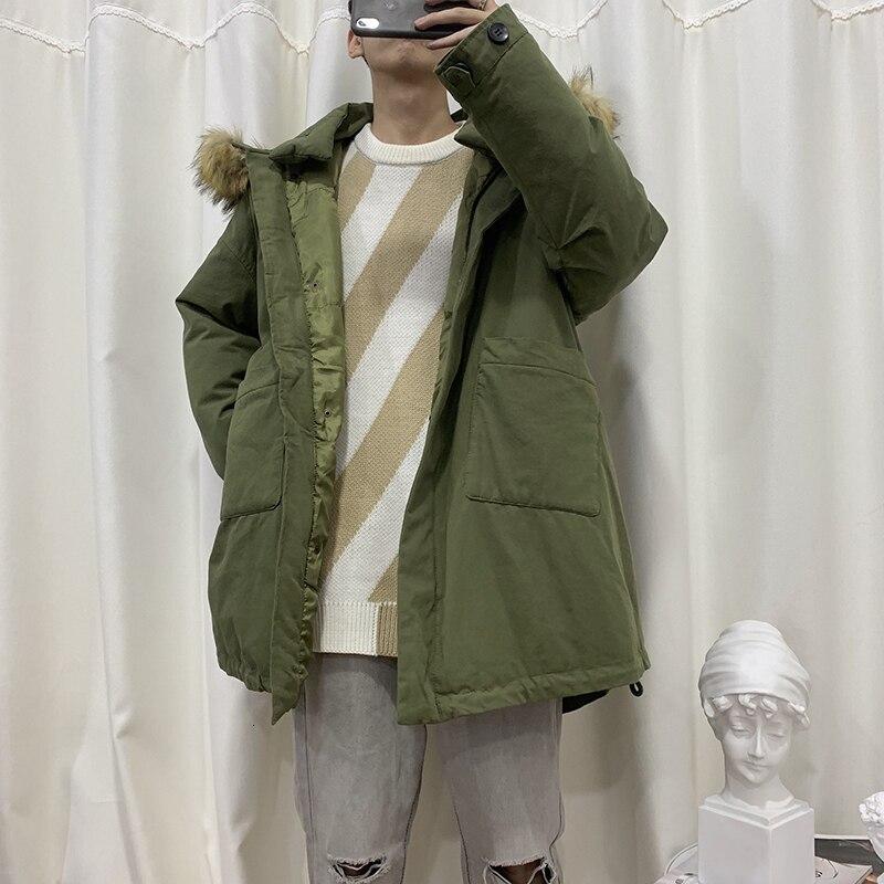 Зимнее длинное пальто с меховым воротником, Мужская теплая Толстая парка, Мужская модная повседневная куртка с капюшоном, Мужская