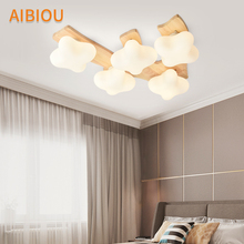 AIBIOU Japanese LED Ceiling Lights In Tree Shaped Modern Wooden Bedroom Lamp with Glass Lampshades For Living Room