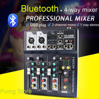 JIY Mini Portable Audio Mixer F4 with USB DJ Sound Bluetooth Digital Mixing 4 Channel Karaoke Amplifier For Karaoke Match Party