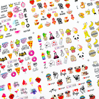 12pcs Cute Cartoon Nail Stickers Water Decals Banana Fruit Character ransfer Slider Nail Art Tattoo Manicure Foil Wraps 2020 New