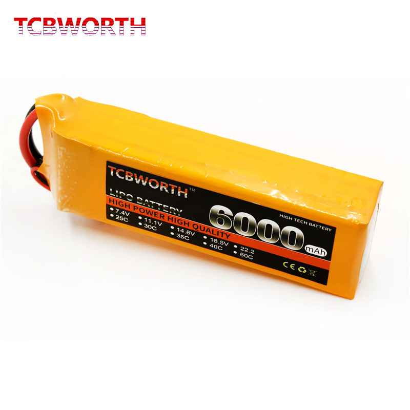 TCBWORTH <font><b>4S</b></font> 14.8V <font><b>6000mAh</b></font> 30C Max 60C RC Toys <font><b>LiPo</b></font> Battery <font><b>4S</b></font> For RC Airplane Quadrotor Helicopter Drone Chargeable Batteries <font><b>4S</b></font> image