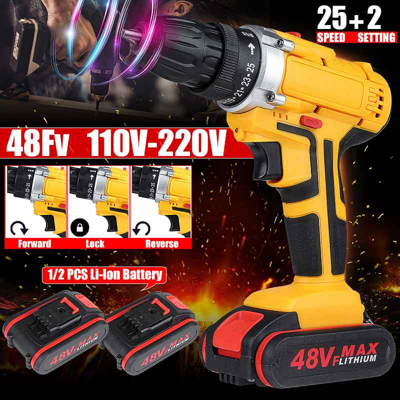 48V 25+3 Torque Cordless Drill Electric Screwdriver Mini Wireless Power Driver with 1/2pcs DC Lithium-Ion Battery image
