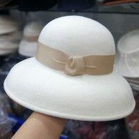 Classical White Felt Winter Hat Warm Cloche Wool Hat Ribbon Bowknot Floppy Brim Derby Wedding Church Fedora Hat Ladies Dress Hat