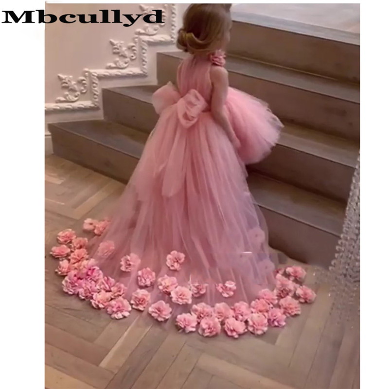 Mbcullyd Princess A-line   Flower     Girl     Dresses   For Weddings 2020 Charming Pink Tulle Long Sweep Train Hi-low Communion   Dress