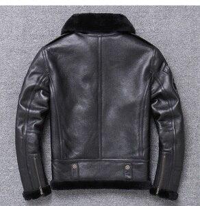 Image 2 - 年! 送料無料。卸売。ブランド本革 jacket. 黒 100% ムートンコート。シープスキン + ウール。冬暖かい服、