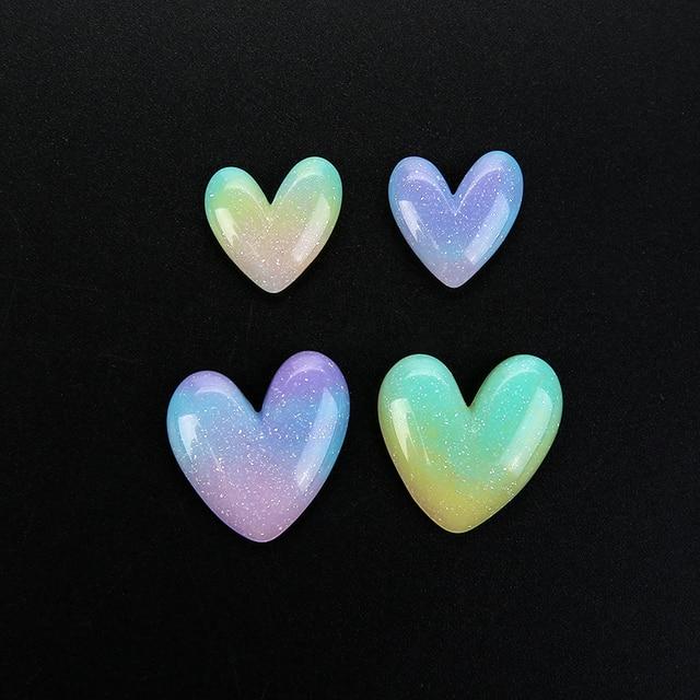 10 шт милый кулон в виде сердца из смолы с плоской задней частью фотография
