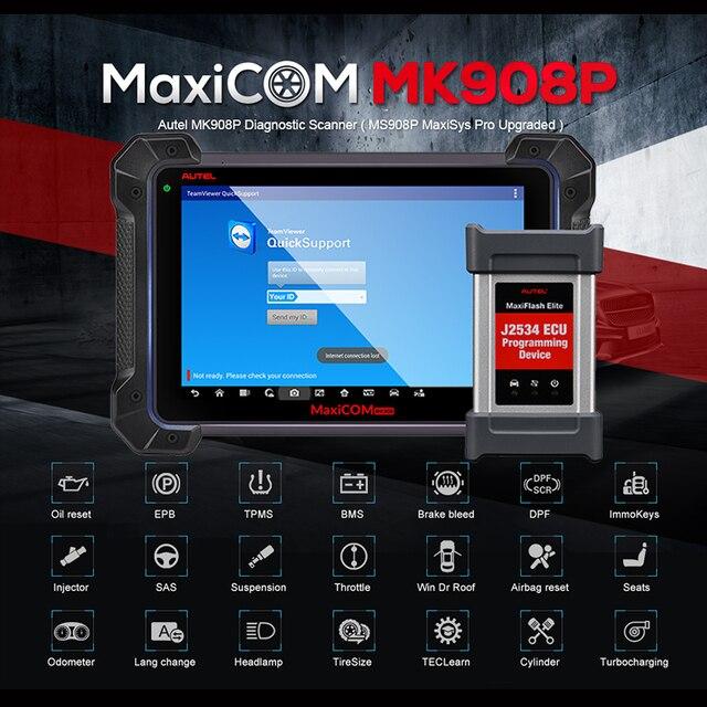 Autel MaxiCOM MK908P OBD2 автомобильный диагностический инструмент 12 языков J2534 Программирование ECU тестер кодирование PK MS908 PRO MS908P OBD 2 сканер