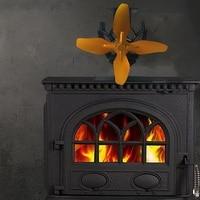 SANQ 4 Klinge Wärme Versorgt Herd Fan Log Holz Brenner Eco Freundliche Leise Lüfter Hause Effiziente Wärme Verteilung-in Abluft-Ventilatoren aus Haushaltsgeräte bei