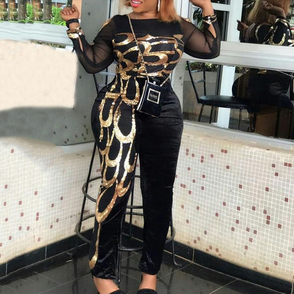Casual Golden Print Black Plus Size Women Sexy Jumpsuit Mesh See Through African Fashion Club Overalls Slim Long Jumpsuits 5XL