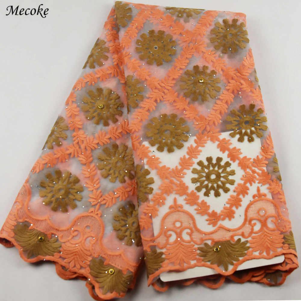 Vino Francese Tessuto di Pizzo Netto 2018 Ultime africano guipure tessuto del merletto del ricamo della maglia di tulle verde acqua cavo di Paillettes tessuto di pizzo