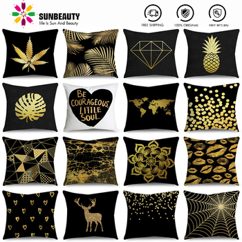 SUNBEAUTY Decorative Throw Pillow Covers Black And Gold Cushion Covers Classic 45x45cm Pillow Case Home Decor Sofa Living Room harry styles another man fashion decorative linen cushion covers for sofa 45x45cm cotton throw pillow case home decor almofada