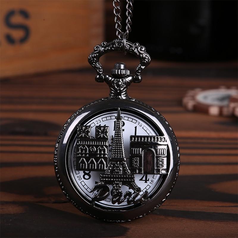 Large Paris Eiffel Tower Carved Open Pocket Watch Retro Black Paris Sight Vintage Nostalgic Pocket Watch