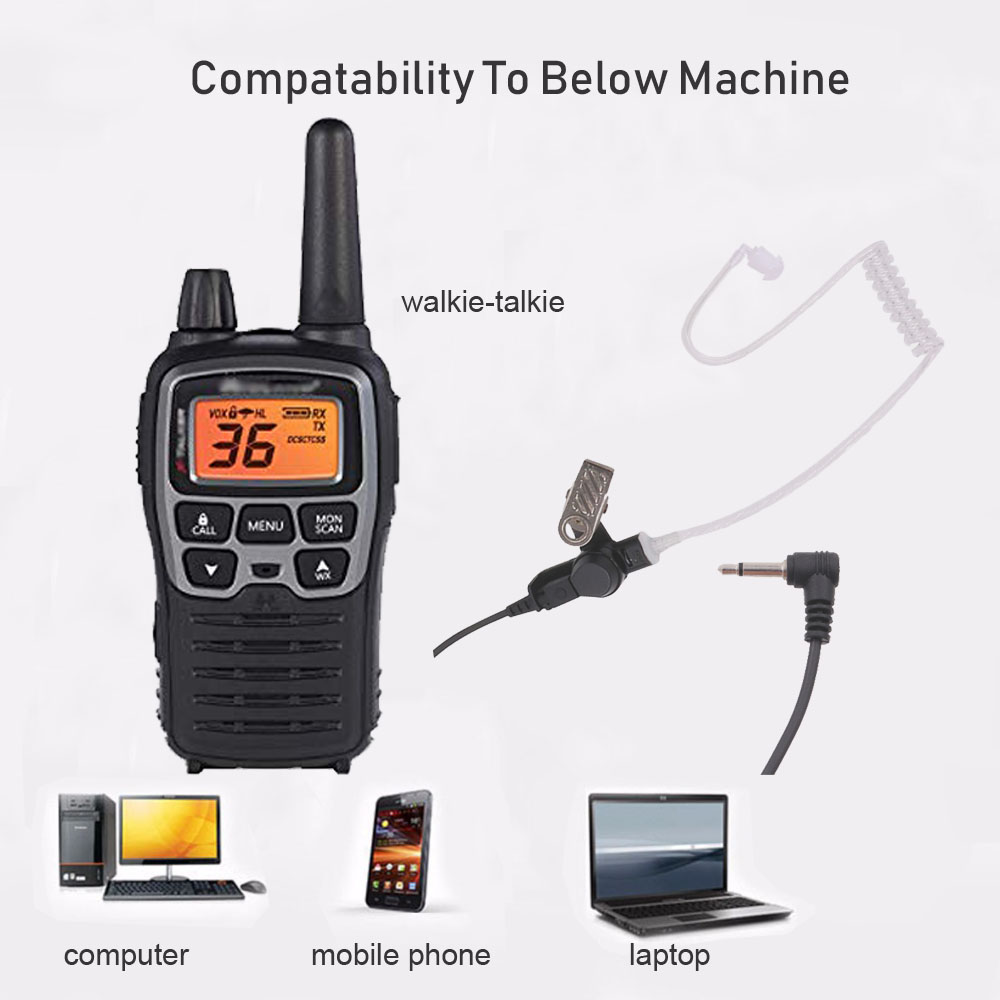 Image 2 - 3.5mm Police Listen Only Acoustic Tube Earpiece with One Pair Medium Earmolds for Speaker Mics-in Walkie Talkie from Cellphones & Telecommunications
