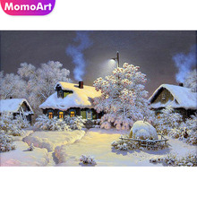 MomoArt Diamond Painting Christmas Snow Scenic Embroidery Landscape Mosaic Full Drill Home Decor Accessories