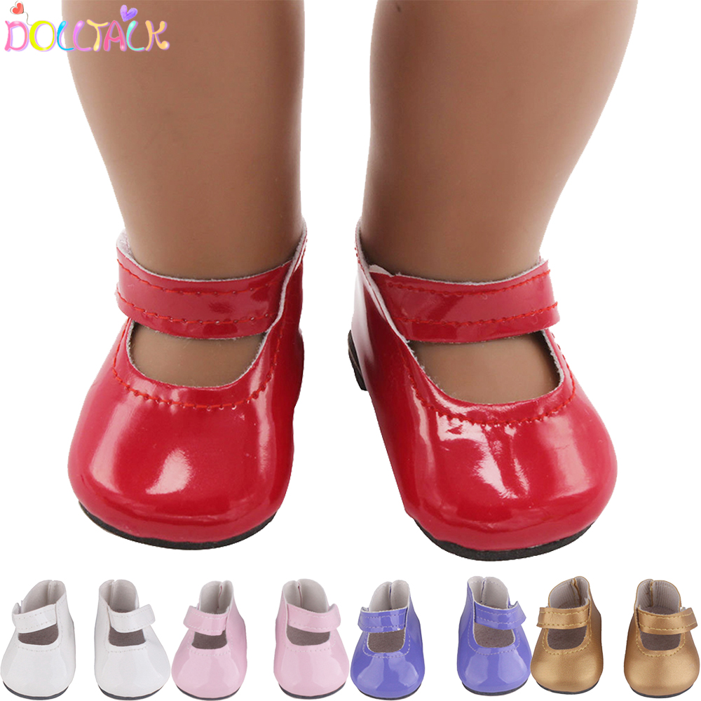 18 inch Doll Exquisite Leather Shoes 6 Colors PU Mini Shoes For 43cm New Baby American Russia DIY Dolls