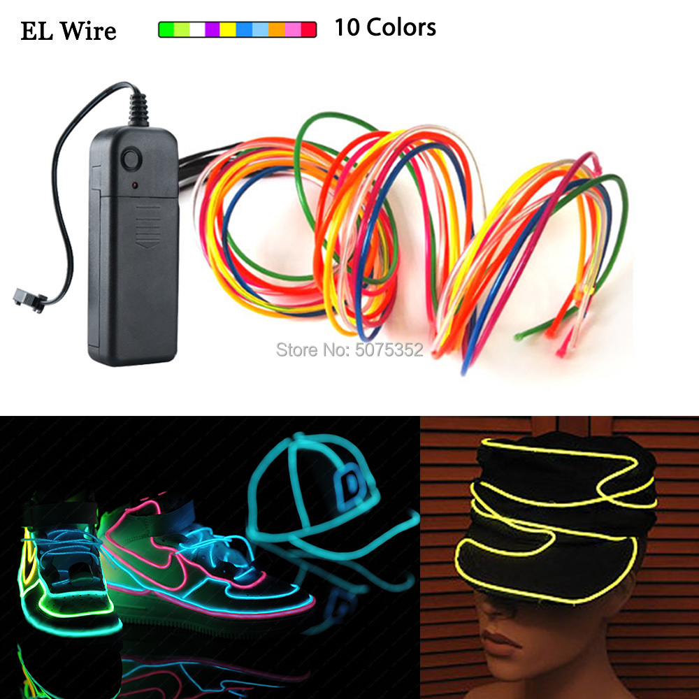 DC-3V Controller Waterproof Neon Led Light Strip Flexible EL Cable Rope Tube Christmas Decor Flashing EL Wire For Festival Decor