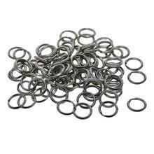 100 pces de aço inoxidável prata split porta-chaves encontrar 10mm(2/5) diâmetro.