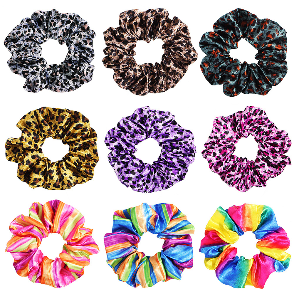 Colorful Leopard Rainbow Scrunchie Women Elastic Hair Bands Girls Headwear Rubber Hair Ties Patchwork Ponytail Holder