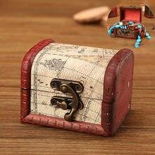 Caixa de armazenamento de jóias de madeira quadrado pequena caixa de presente para anéis brincos com mini bloqueio de metal para jóias tesouro pérola 19dec30