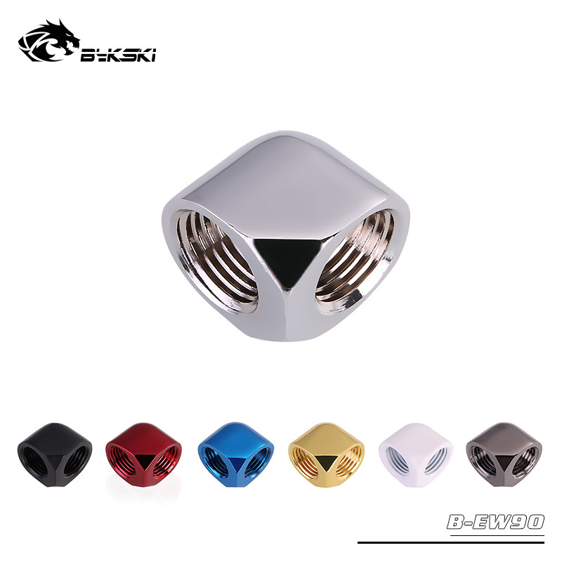 Bykski Angle 90 Fitting Double Female G1/4'' 90 Degree Connector Metal Fitting Use For Water Cooling Elbow G1 / 4 Thread B-EW90
