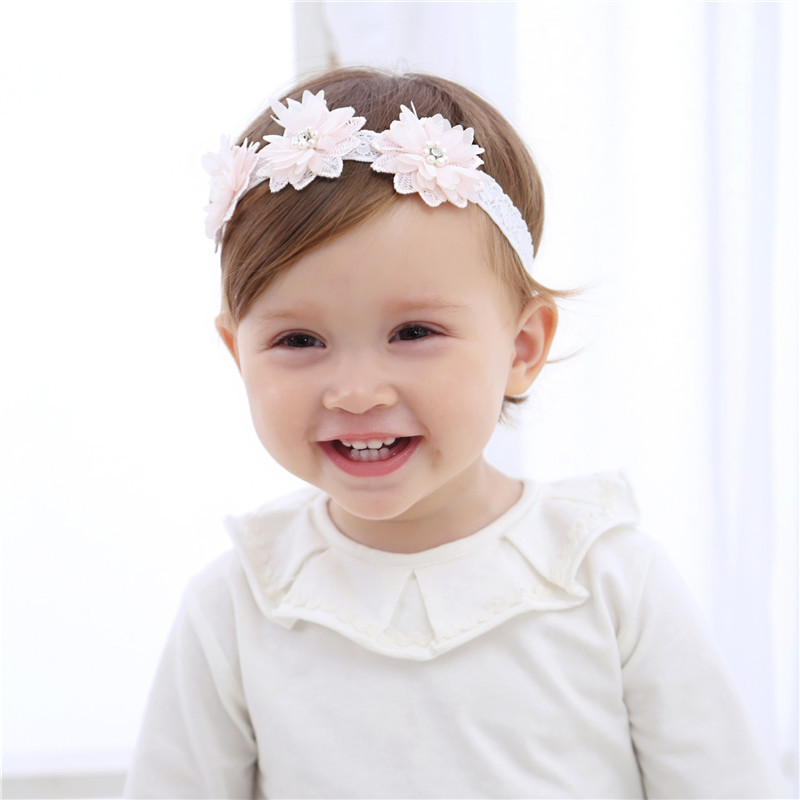 1 Pcs Baby Girls Headbands Lovely Children's Beads Flower Hair Band Pearl Hairband Baby Hair Accessories For Baby Jewelry Gifts