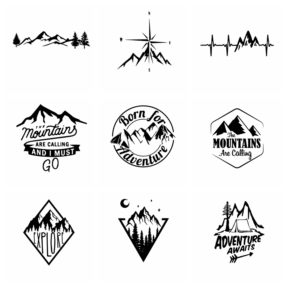 Car Stickers Hot Sale Mountains And Compass Sticker Vinyl Art Car Sticker Waterproof For Car Accessories Decoration