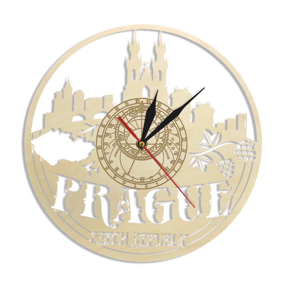Prague Skyline Czech Republic Wall Art Clock Cityscape Print Wood Watch Traveller Business Anniversary Birthday Gifts