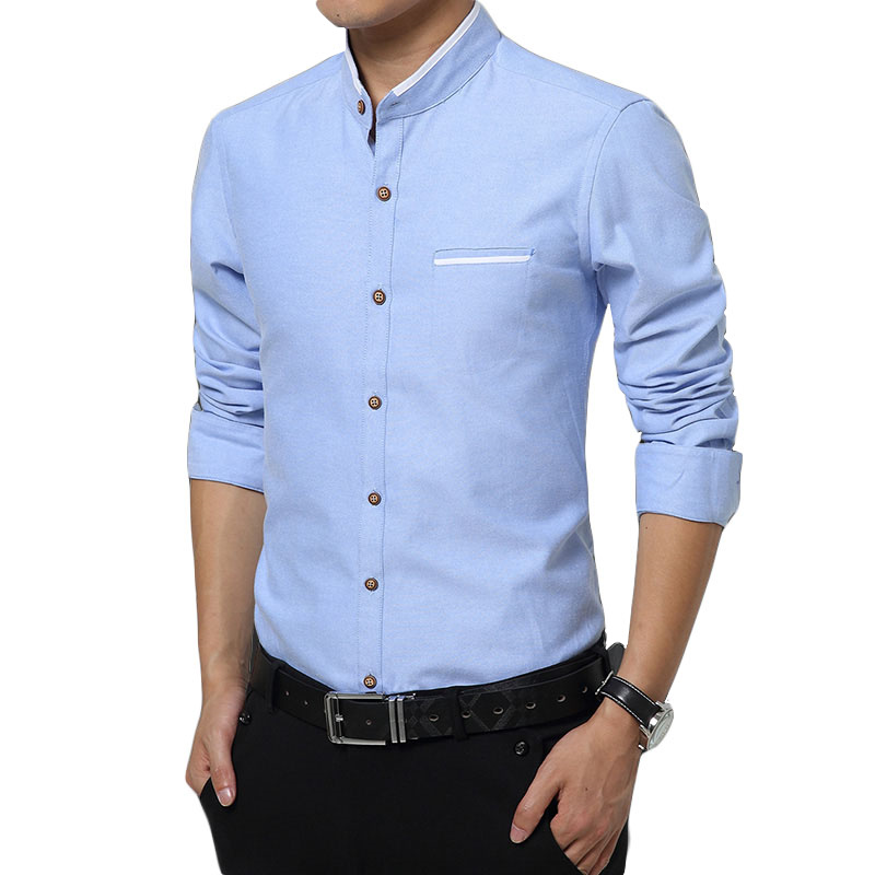 2019 Brand Clothing Fashion Men Spring Slim Fit Stand Collar Business Dress Shirt/Male Pure Cotton Slim Long Sleeve Shirts Tops