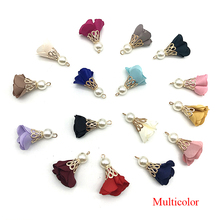 100pcs/Beads Buckle Torch Gold Bell Clasps Flower Tassel Charm Pendant for Keychain Garment Accessories