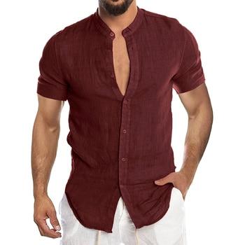 Men's New Summer Casual Cotton Linen Short Sleeve Button Down Shirt For Man Casual Shirts Cotton Shirts Long Sleeve Men Print Shirts Shirts & Tops Slim Fit Summer Shirts T-Shirts Work Shirts Color: Short-Red Size: European Size 3XL