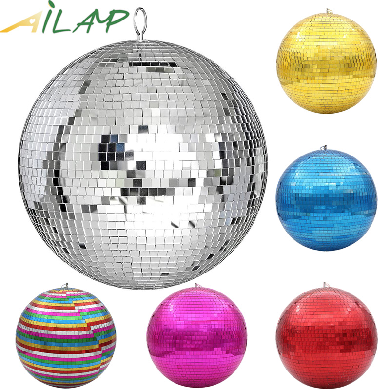 30cm mirror disco ball stage light rotating glass ball big Party Decorations ktv bar dj lighting reflection colorful mirror ball