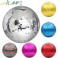 Зеркальный диско-шар 30 см, сцсветильник вращающийся стеклянный шар, большие вечерние чные украшения, разноцветный зеркальный шар с отражен...