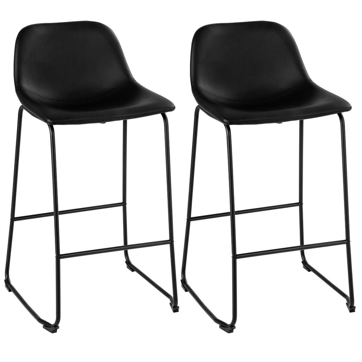 Costway Set Of 2 PU Leather Vintage Pub Barstools Dining Side Chairs W/Metal Legs Black