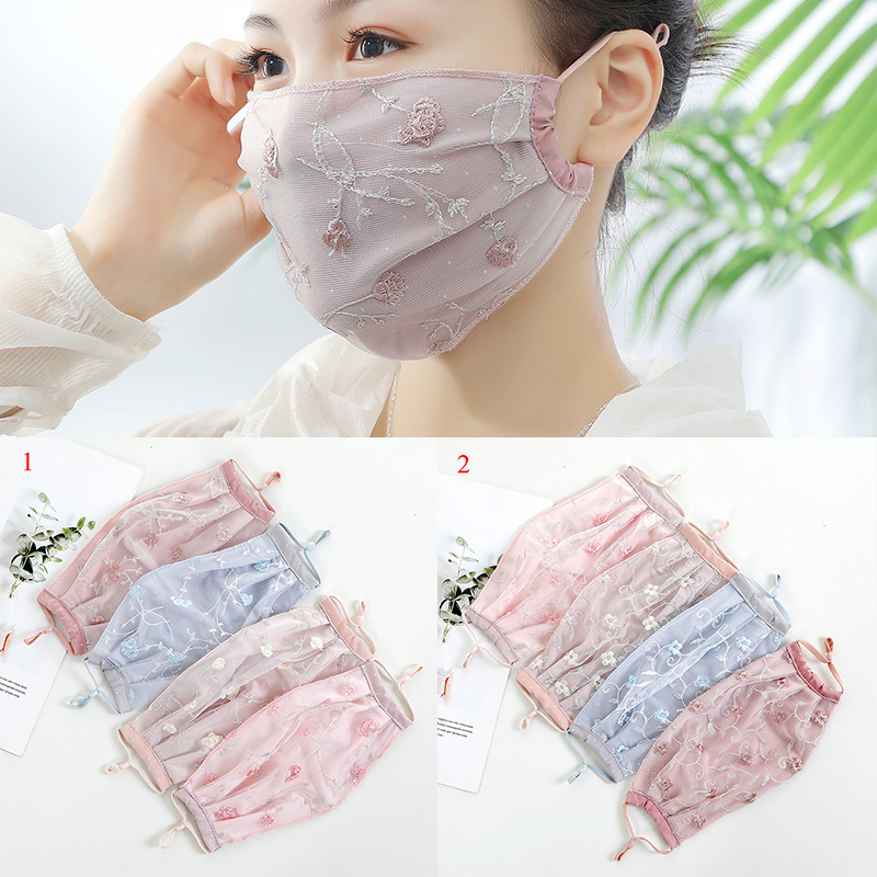 Women Lace Embroidery Floral Sunscreen Imitation Silk Breathable Dust Proof Half Face Mask Mouth-muffle