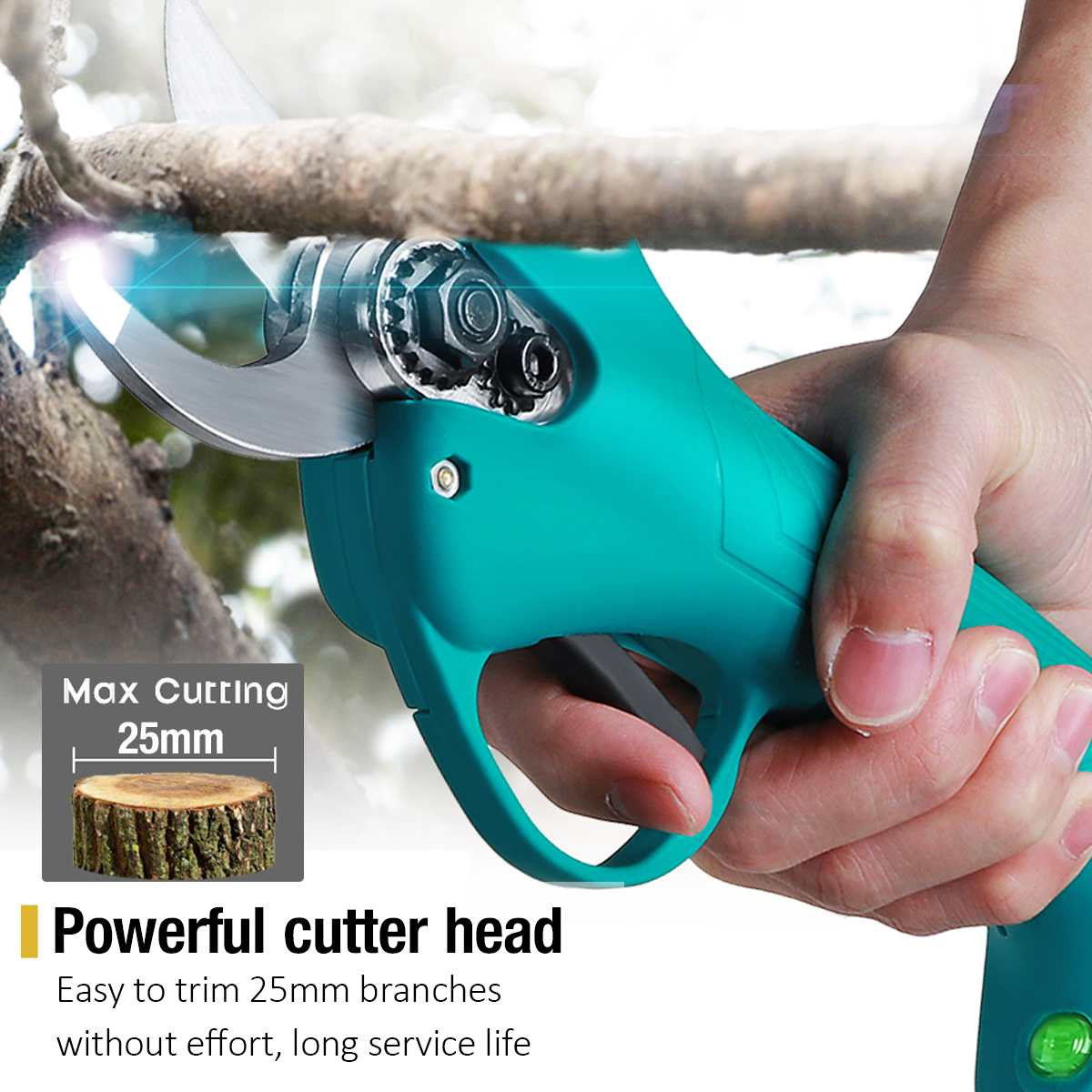 Pruner Cordless Fruit Ion Trimmer Battery Shear Tree Efficient With Cutter Bonsai 21V Pruning Garden  Scissors Electric Lithium